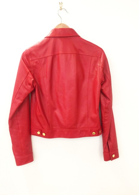 Ralph Lauren Collection Fall Designer Leather Motorcyclejacket Red Jacket Image 1