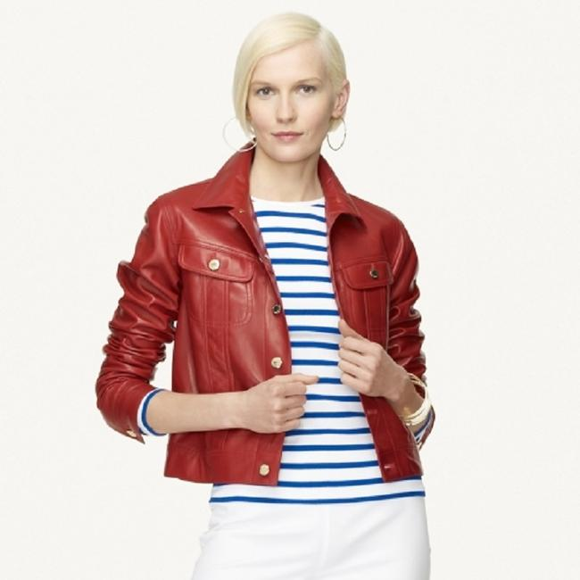 Ralph Lauren Collection Fall Designer Leather Motorcyclejacket Red Jacket Image 2
