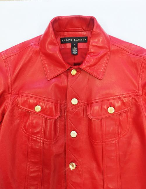Ralph Lauren Collection Fall Designer Leather Motorcyclejacket Red Jacket Image 4