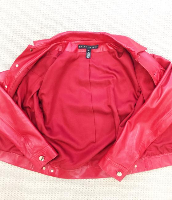 Ralph Lauren Collection Fall Designer Leather Motorcyclejacket Red Jacket Image 6
