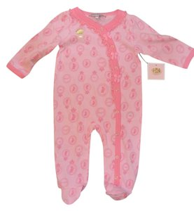 Juicy Couture Juicy Couture Girl's 3-6 Month Pink Logo Footie Outfit-Brand New w/ Tags