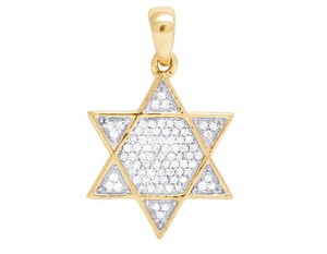 Jewelry Unlimited 10K Yellow Gold Diamond Iced Star Of David Pendant 0.20 Ct 1""