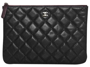 Chanel Caviar Quilted Pouch black Clutch
