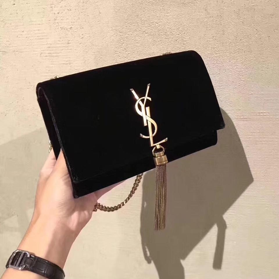 a8f155964c Saint Laurent Kate Ysl Monogram Tassel Velvet Chain Clutch Black ...