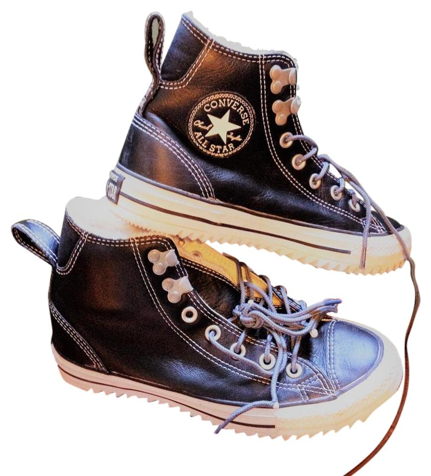 Converse Black Limited Edition Vulcanized Sole Leather Hip Sneakers Top Fleece Sneaker Boots Sneakers Hip 46b7bf