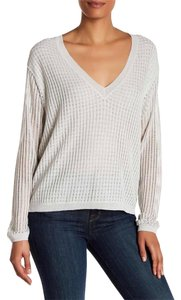 Brochu Walker V-neck Linen Longsleeve Sheer Sweater