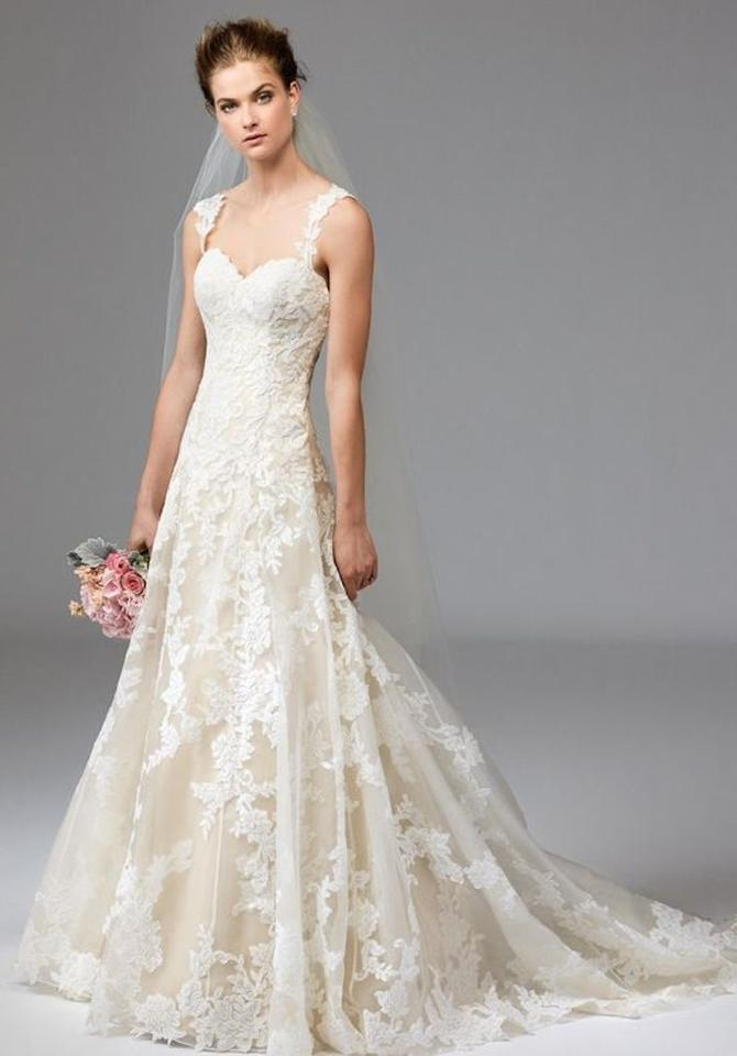 f5ab47bc1813 Watters Ivory/ Nude Lace Aven 1001b Traditional Wedding Dress Size 8 (M)  Image ...