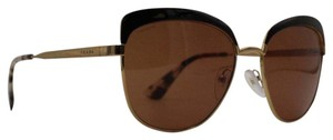 Prada Square Vintage Styled Gold Brown Sunglasses SPR51T