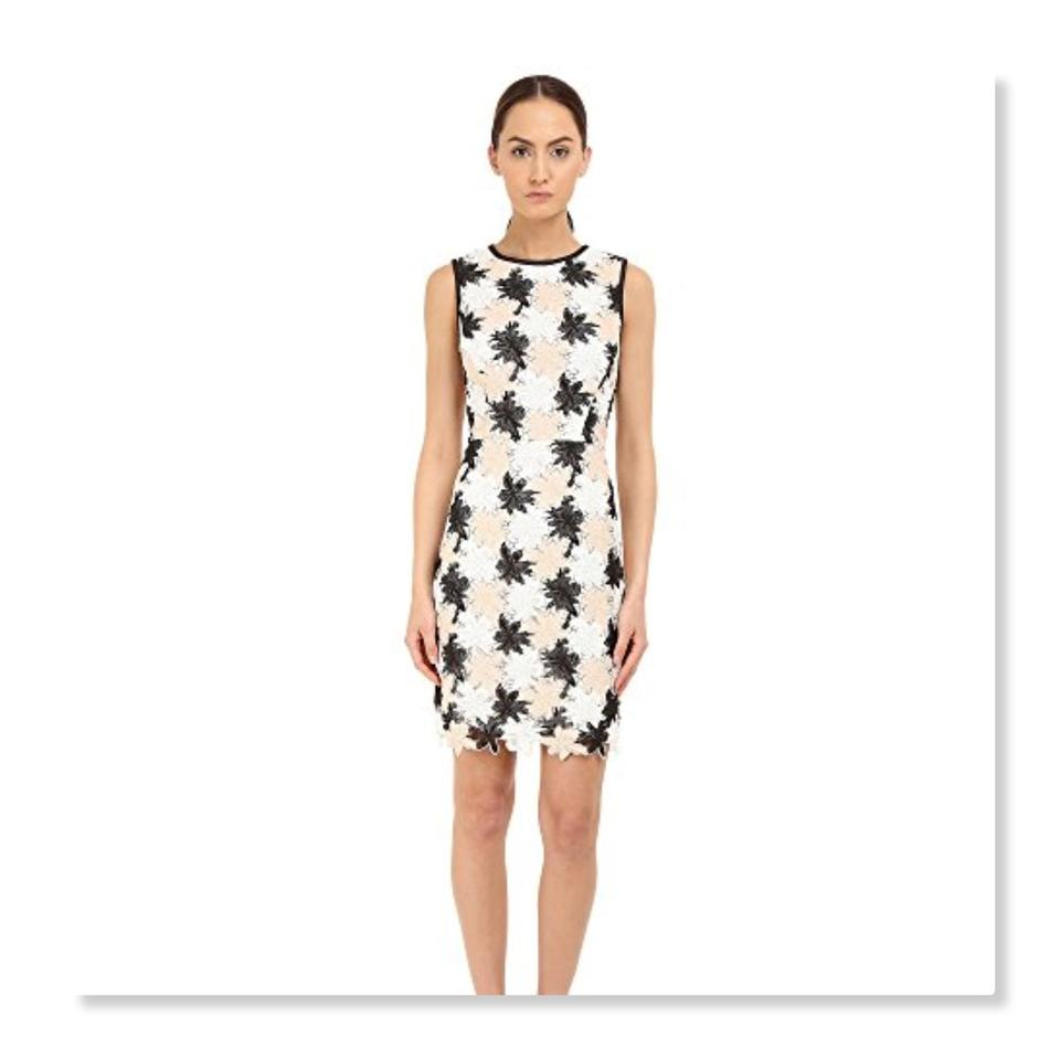 5c3e70231c4 Kate Spade White Black Pink Tiger Lily Lace Mid-length Cocktail ...