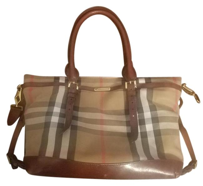 Item - Brown's and White Canvas Leather Diaper Bag