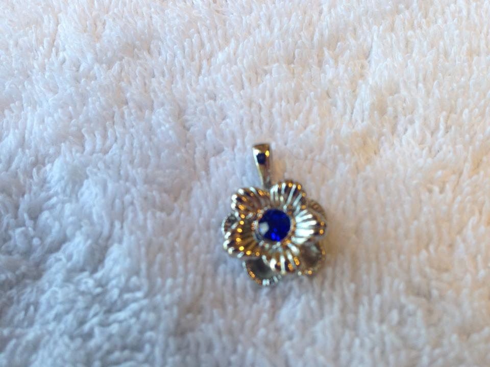 Blue new sterling silver azurite gemstone flower pendant tradesy 1234567 mozeypictures Images