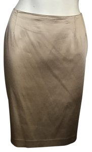 Emanuel Ungaro Satin Sateen Pencil Evening Classic Skirt Champagne
