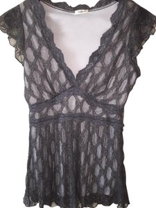 Studio Y Sparkling Witchy Lace Fashion Low Cut Top Silver Grey