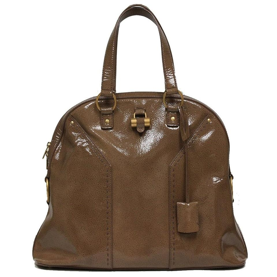 Saint Lau Ysl Muse Patent Leather Oversized Satchel In Brown