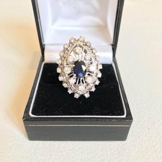 Vintage Estate Jewelry Vintage 1920's diamond & sapphire 14k white gold ring Image 5