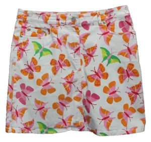 LILLY PULITZER Butterfly Print Jeans Skirt WHITE/ORANGE/PINK/GREEN/YELLOW