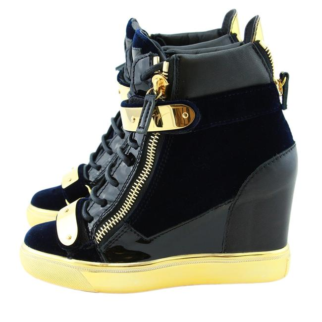 Item - Black New Coby Velvet & Leather Dual Gold Metal Straps Wedge Sneakers Size US 8 Regular (M, B)