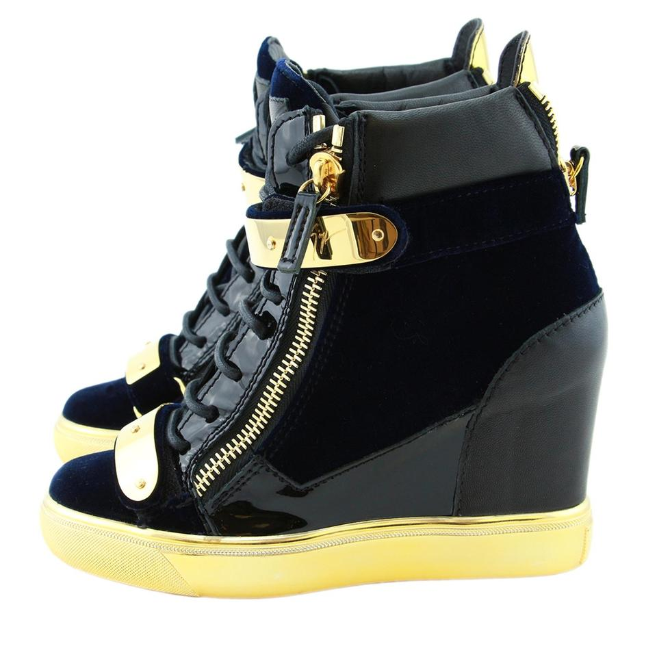 893514ca9077f Giuseppe Zanotti Black New Coby Velvet & Leather Dual Gold Metal Straps Wedge  Sneaker Sneakers