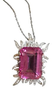 Neiman Marcus Flawless pink topaz & diamond flame 14k white gold necklace