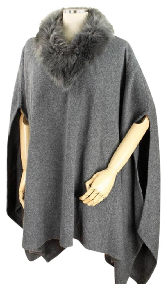 dc9d06457 Gray Fur Trimmed Collar Open Arm Wrap Poncho/Cape Size OS (one size ...