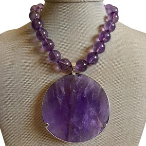 Neiman Marcus Amethyst & Sterling silver statement necklace.