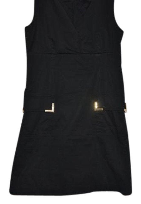 Item - Black Gold Sleeveless Day To Night Cotton Spandex Short Casual Dress Size 12 (L)