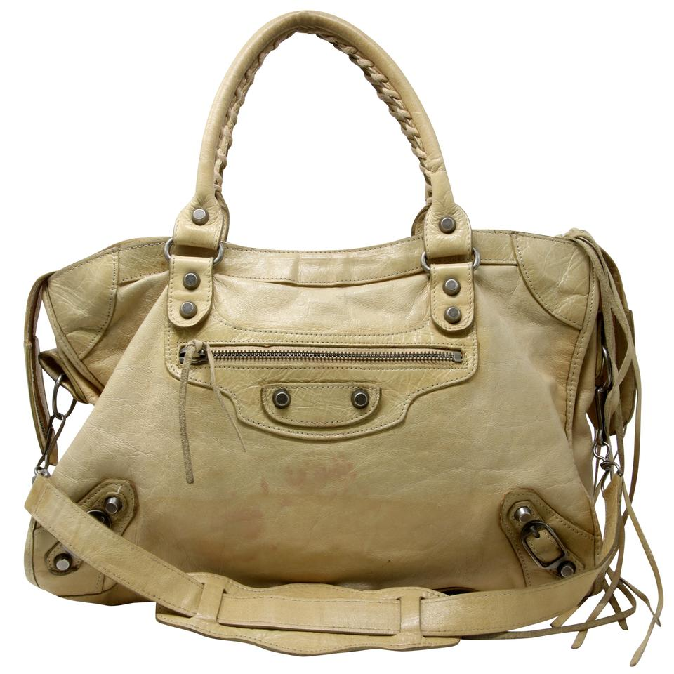 0c159d4aca2a Balenciaga Hermes Prada Fendi Studded Jumbo Satchel in Light Yellow Image 0  ...