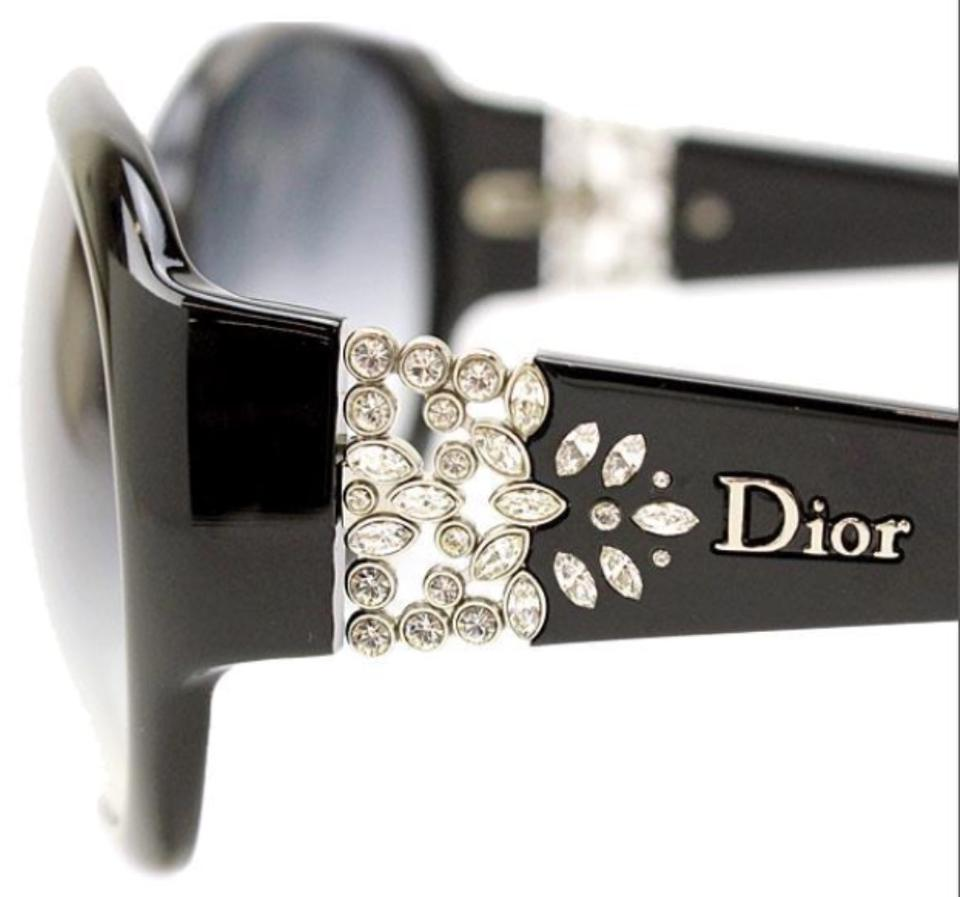 e1a16ac01753b DIOR DELICACY Black Rhinestone Sunglasses And Original Case on Tradesy