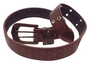 Guess Guess Vintage Brown Leather Double Prong Belt Metal Buckle
