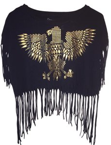 Freeze Fringe Hem Tribal Crop Bohemian Native Top Black