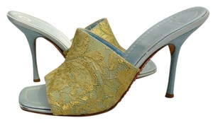 Valentino Garavani Gold Lace Light Gold, Blue Sandals