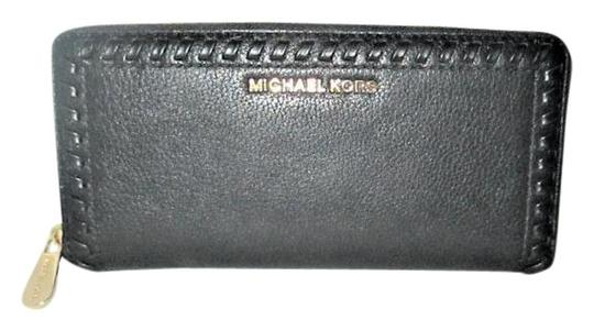 08936f474ced Michael Kors Black Lauryn Travel Whipstitch Pebbled Leather Continental  Wallet - Tradesy