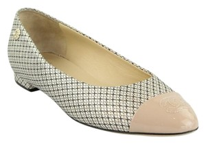 Chanel Ballet Pink Beige Black Mesh Nude and Iridescent Silver Flats