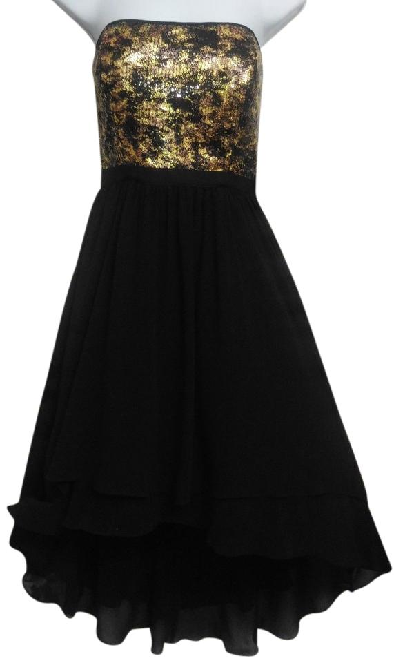 Nine West Black And Gold Wild Raisin Sequin Strapless High Low Long