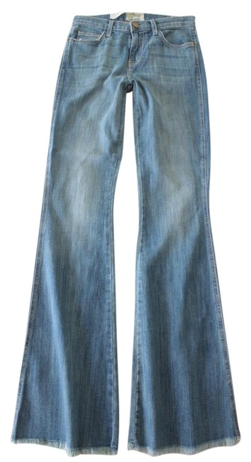 Item - Blue Light Wash High Rise Low Bell Le Patte Flare Leg Jeans Size 26 (2, XS)
