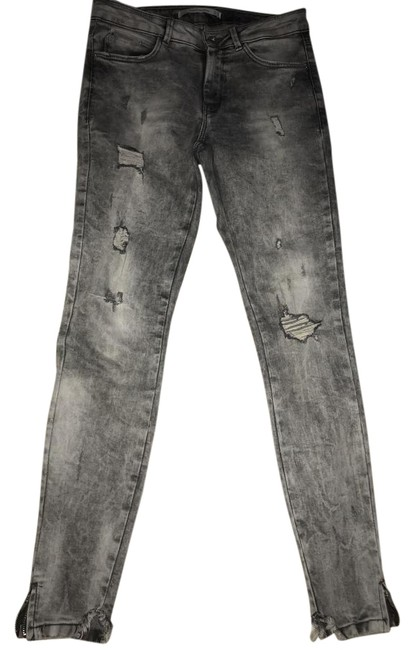 Item - Gray Distressed Cropped with Ankle Zippers High Waisted Skinny Jeans Size 29 (6, M)