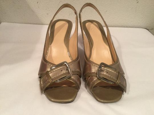 Cole Haan Stitching Gold and tan Sandals