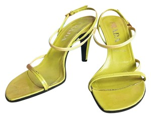 Prada Two-tone Yellow Patent Leather Strappy Green Sandals