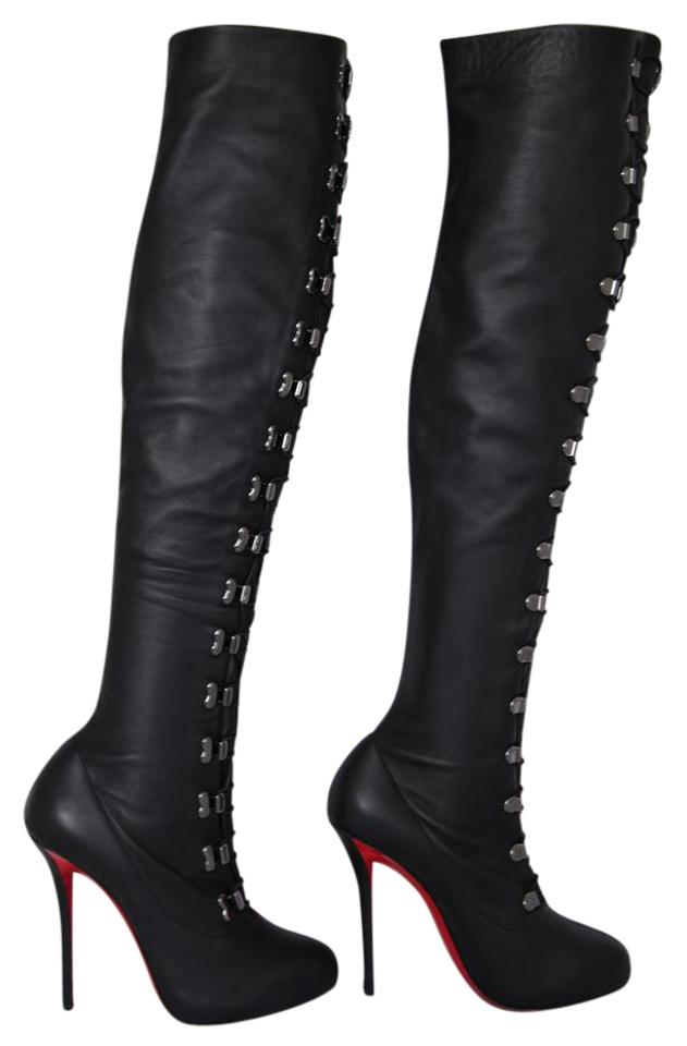 b85c0f3d95ab Christian Louboutin Black New Top Croche Thigh High Heel Lady Red Sole Toe  Italy Otk Over Knee Boots Booties