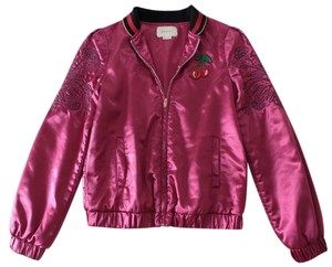 9a5be90a8 Gucci Fuchsia Satin Floral Embroidered Cherry Patch Bomber Jacket ...