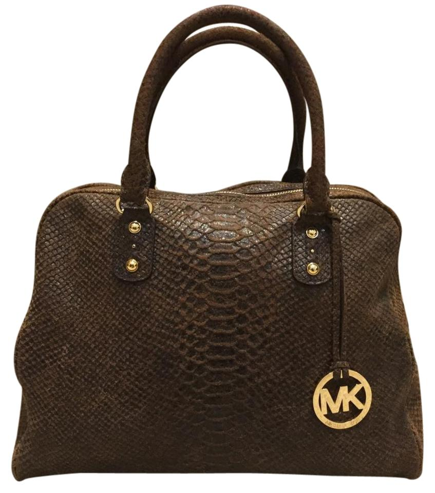 265dd9ad85c11d Michael Kors Brown Mocha Python Embossed Leather Satchel - Tradesy