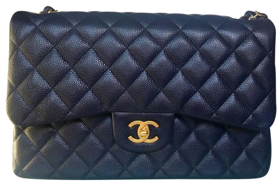 29441a8932dc02 Chanel Classic Flap Jumbo Gold Hardware Navy Caviar Shoulder Bag ...