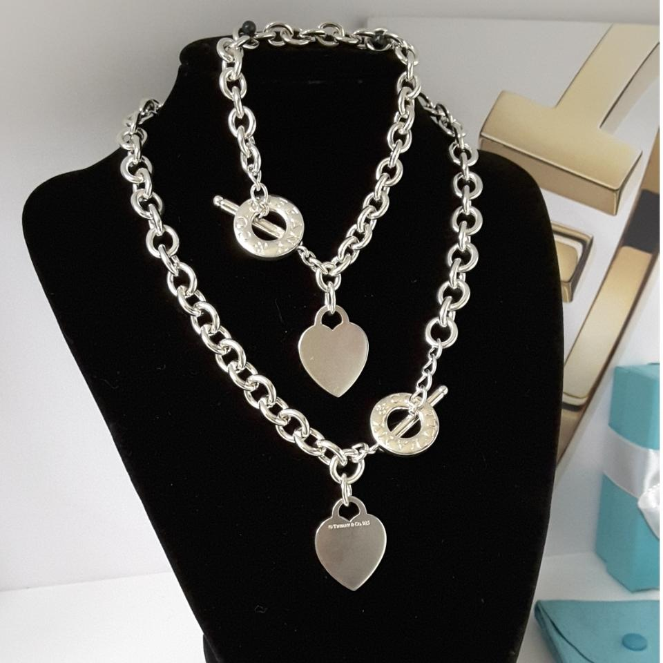 Heart Tag Toggle Necklace And Bracelet Set 123