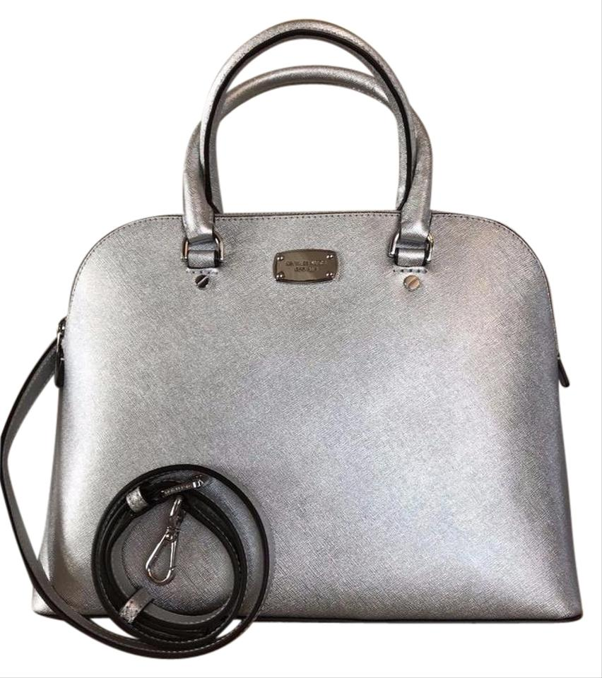 Michael Kors Mk Cindy Large Leather 190864408842 Satchel In Silver