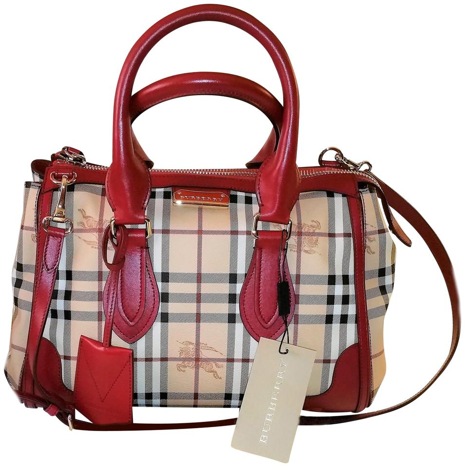 d180e030f186 Burberry Made In Italy Haymarket Gladstone Satchel New Military Red ...
