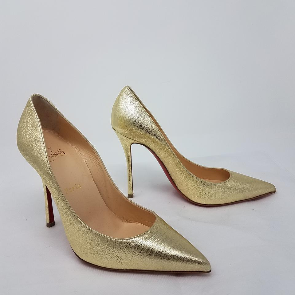 bee8abdf74b7 Christian Louboutin Gold Gold-tone Crinkled Leather So Kate 120 Pumps