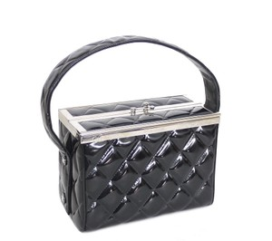 Chanel Vintage Vanity Patent 2.55 Party Satchel in BLACK