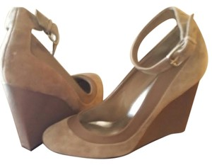 RSVP Suede Wedge Pump Ankle Strap Taupe Wedges