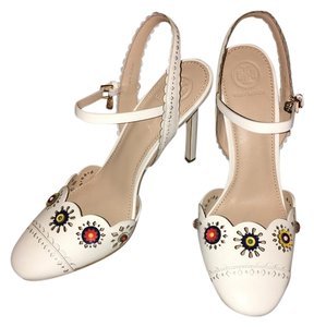 Tory Burch Marguerite Slingback Leather Stiletto Size 8 Ivory Sandals