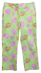 LILLY PULITZER Cropped Cotton Capris YELLOW/PINK